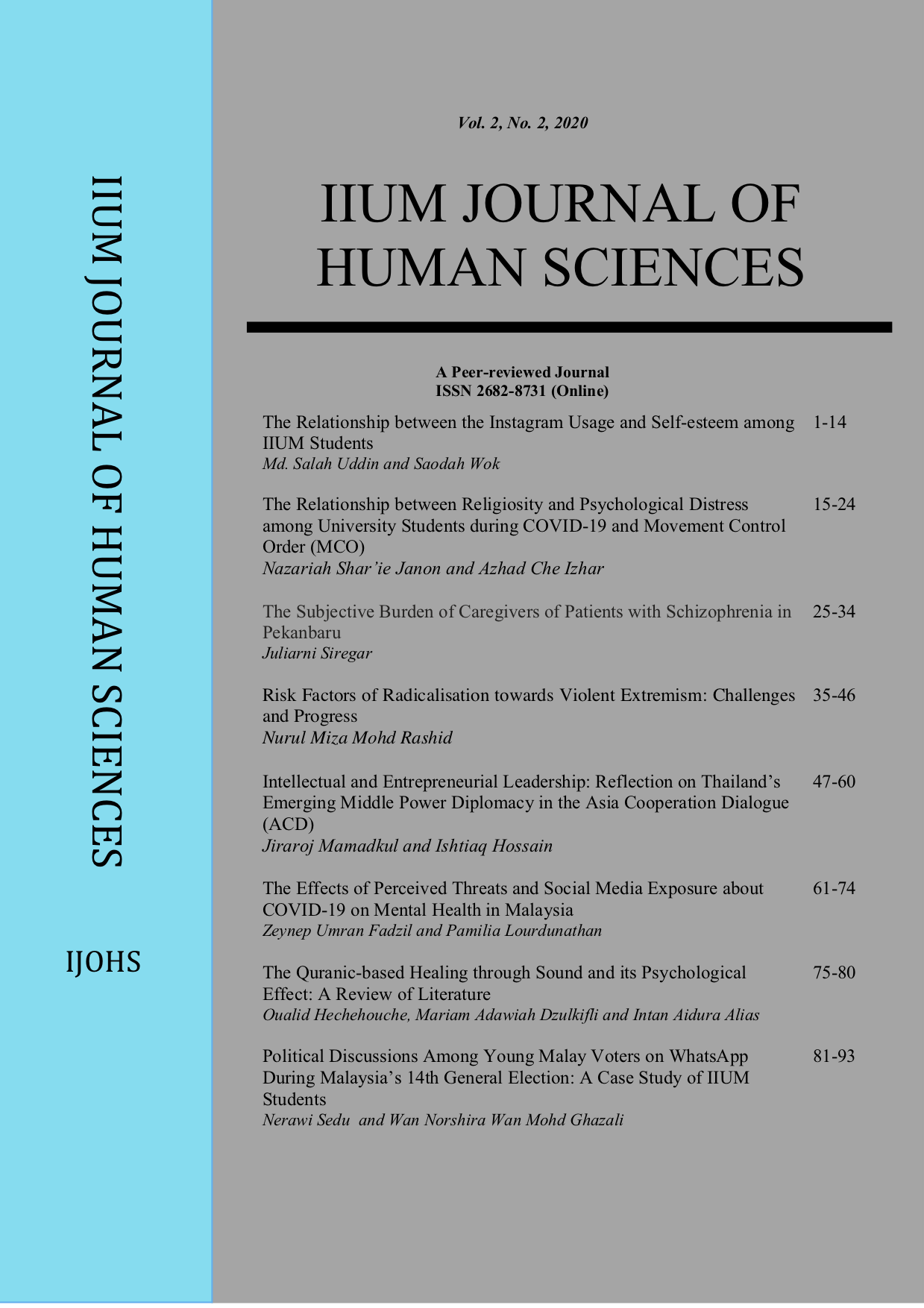 View Vol. 2 No. 2 (2020): Humanising Knowledge