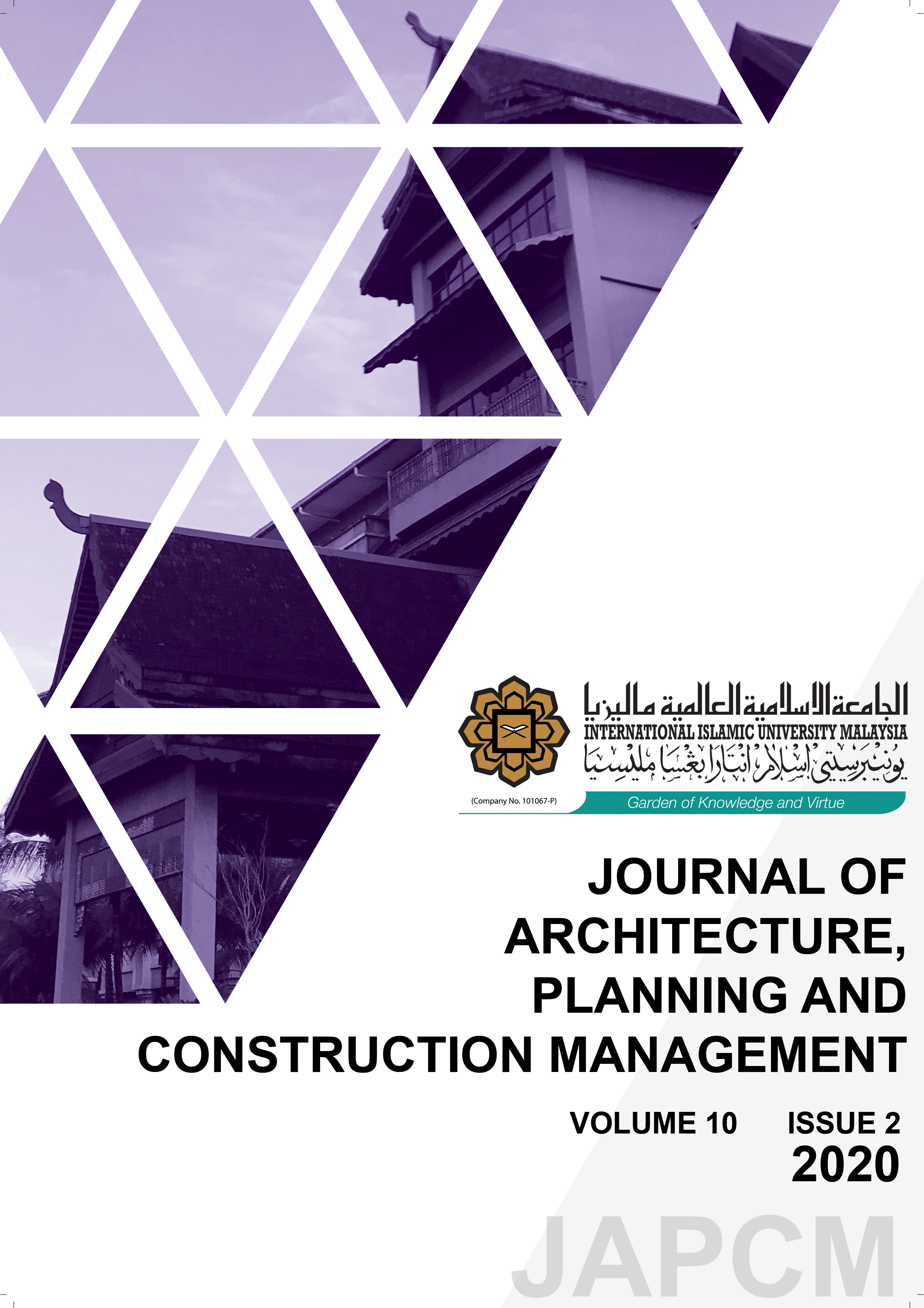 View Vol. 10 No. 2 (2020): Journal of Architecture, Planning and Construction Management