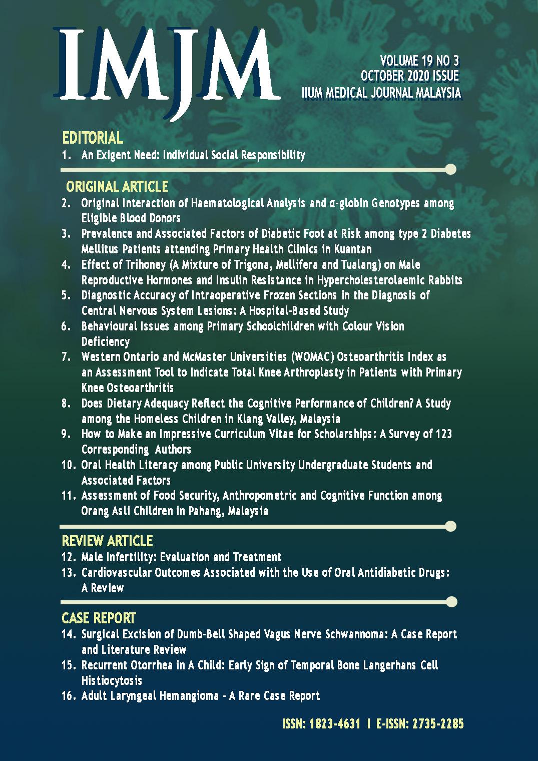 View Vol. 19 No. 3 (2020): IIUM Medical Journal Malaysia - October 2020